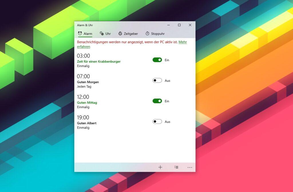 Screenshot der bisherigen Alarm & Uhr App in Windows 10