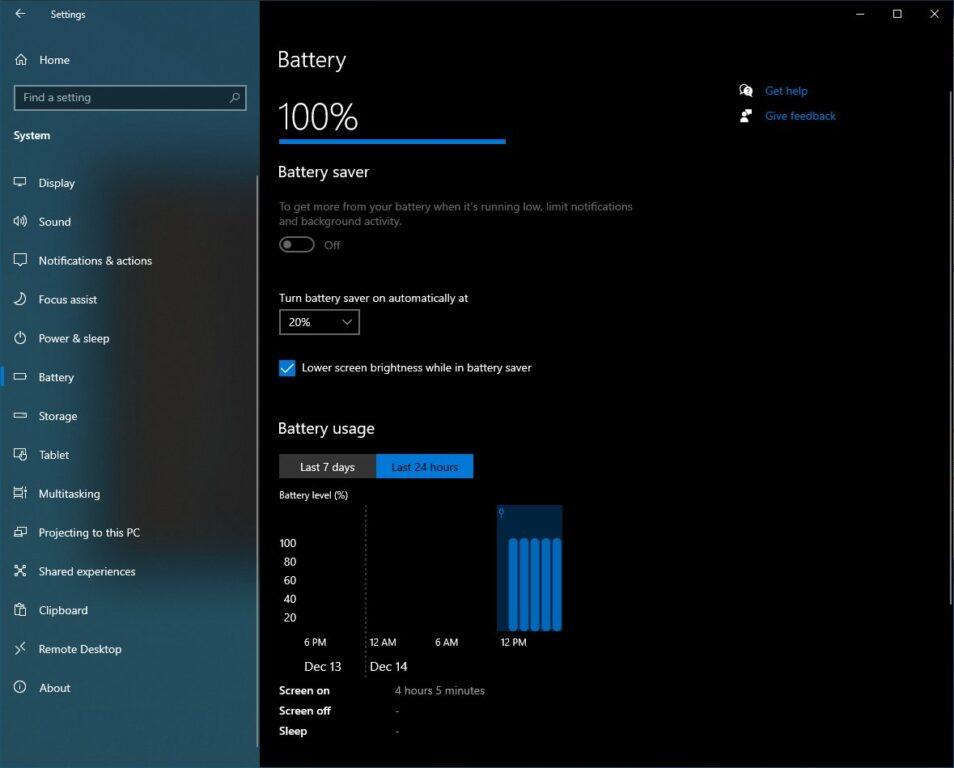 Screenshot zeigt die Windows 10 Einstellungen im Menüpunkt Akku