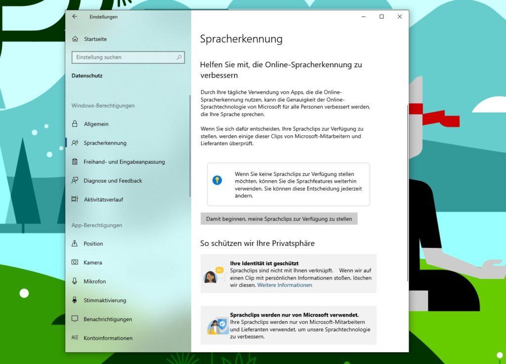 Screenshot der Windows 10 Einstellungen mit neuen Design-Elementen, wie bunten Icons und grauen Boxen