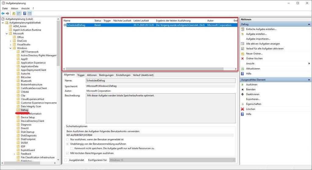 Aufgabenplanung mit geöffneten Defrag-Ordner unter Windows 10. Markiert ist die Aufgabe ScheduledDefrag.
