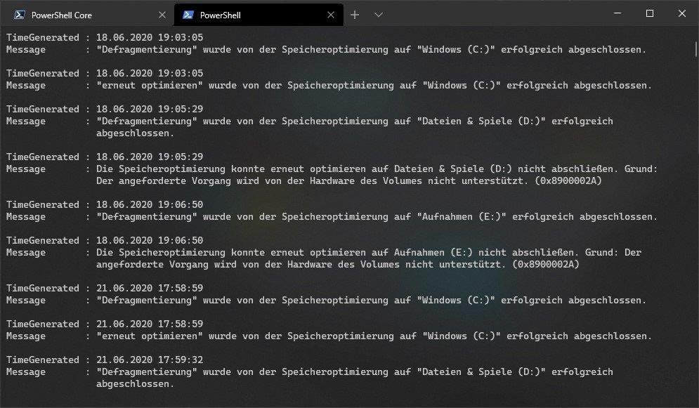 Windows Terminal mit der Ausgabe des obenstehenden PowerShell-Befehls. EventLog von Windows Defrag.