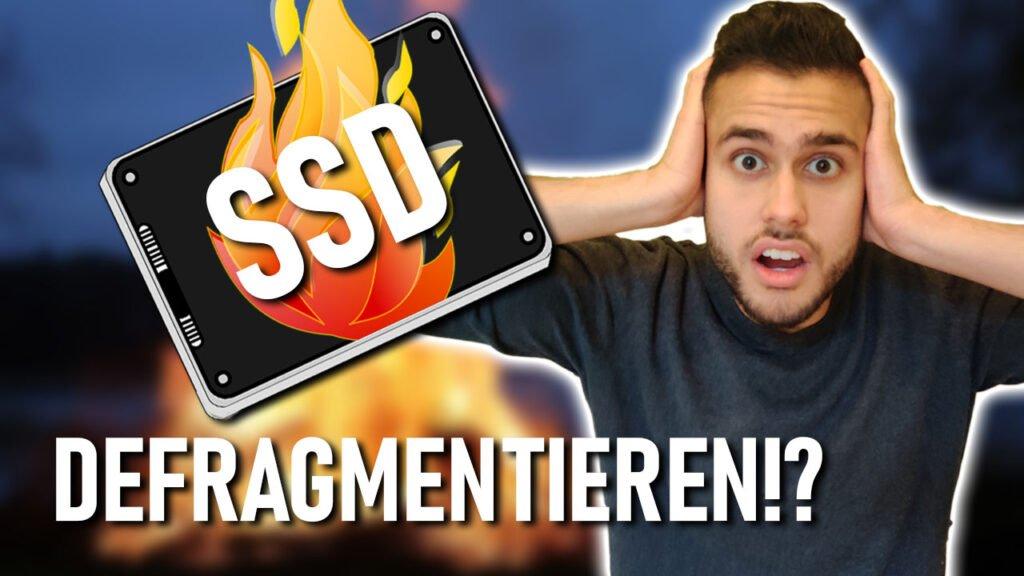 Video-Thumbnail als Titelbild: Windows defragmentiert SSDs. Man sieht eine brennende SSD und Armin, der schockiert guckt.