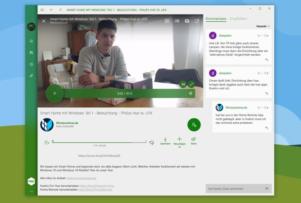 Screenshot von myTube 4 mit geöffnetes WindowsArea-Video