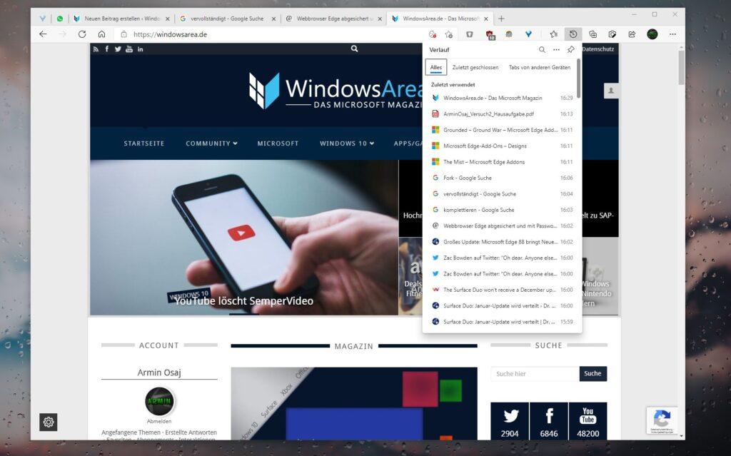Microsoft Edge 88: Screenshot des Verlaufs in der Menüleiste