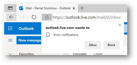 Microsoft Edge Benachrichtigungsanfrage
