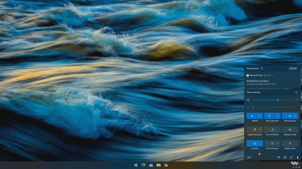 Windows 10 X Action Center