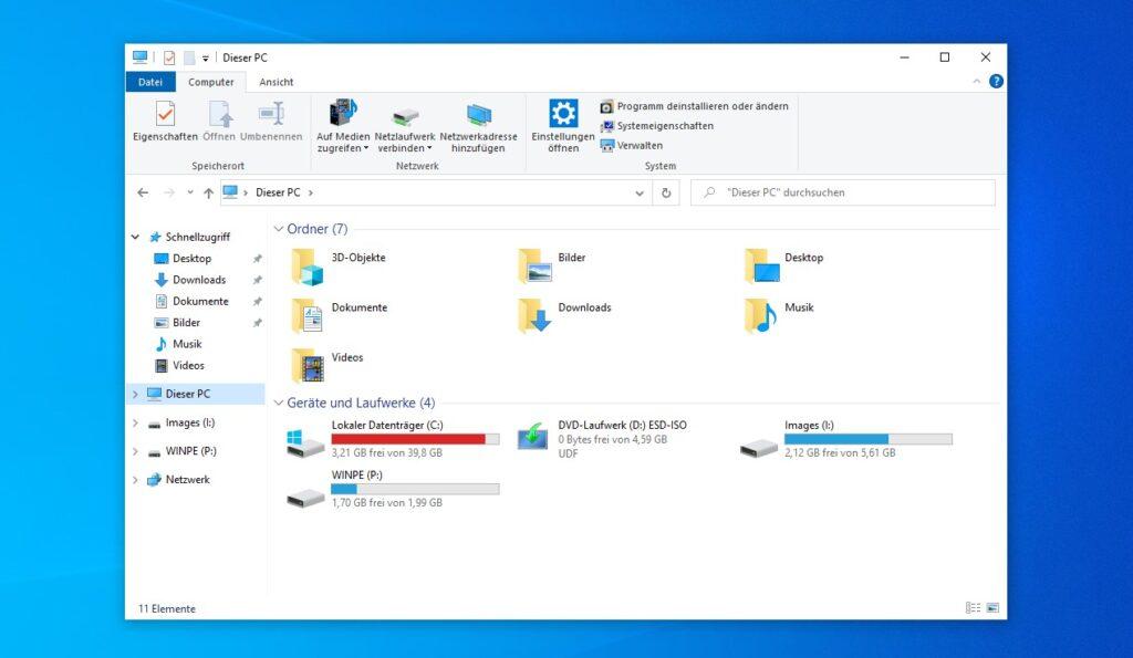 Windows Explorer mit den beiden USB-Laufwerken
