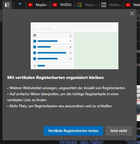 Vertikale Tabs Einführungstext / Popup aus Microsoft Edge 89