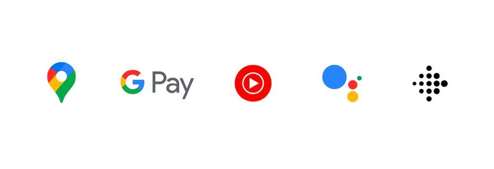 Logos von Google Diensten nebeneinander. Google Maps, Google Pay, YouTube Music, Google Assistant, Fitbit