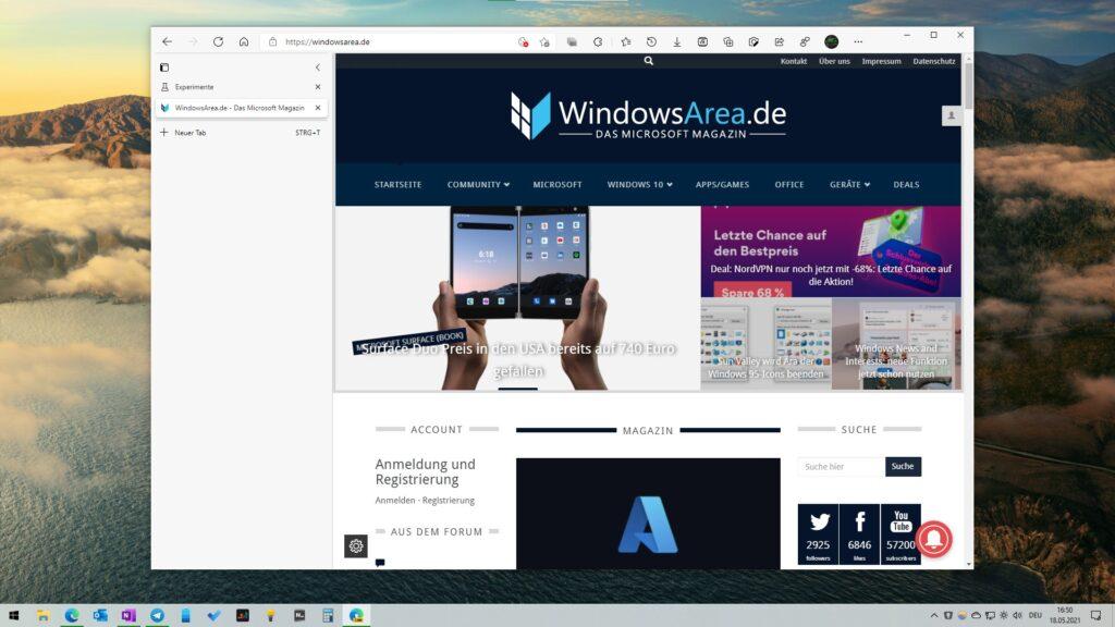 Dieser Screenshot zeigt Microsoft Edge 91 mit deaktivierter Titelleiste bei der Nutzung von vertikalen Tabs