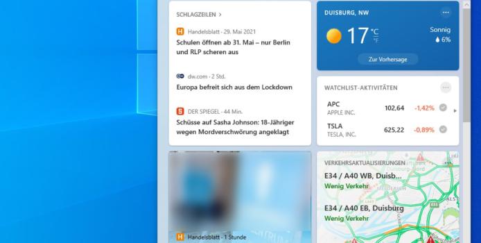 Nachrichten und Wetter in der Taskleiste: optionales Update schaltet es sofort frei