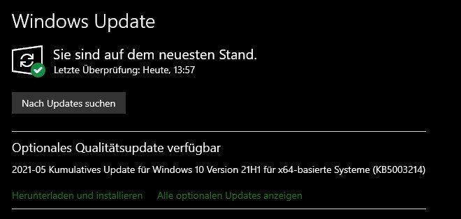 Screenshot von Windows Update mit dem Angebot von KB5003214