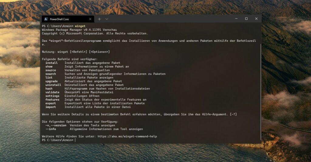 Dieser Screenshot zeigt das Windows Terminal mit der Ausgabe des winget-Befehls / zeigt den Windows Package Manager