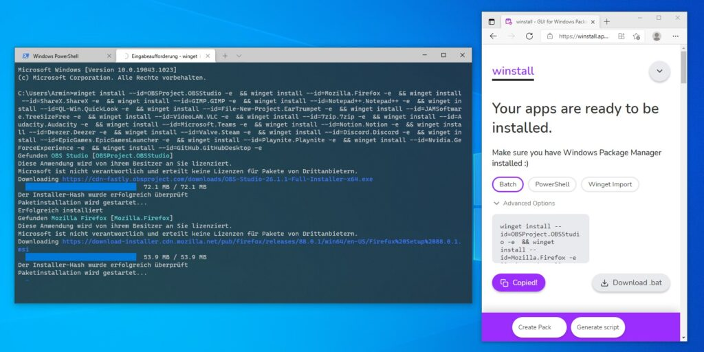 Dieser Screenshot zeigt den von Winstall.app generierten Code eingefügt im Windows Package Manager Terminal