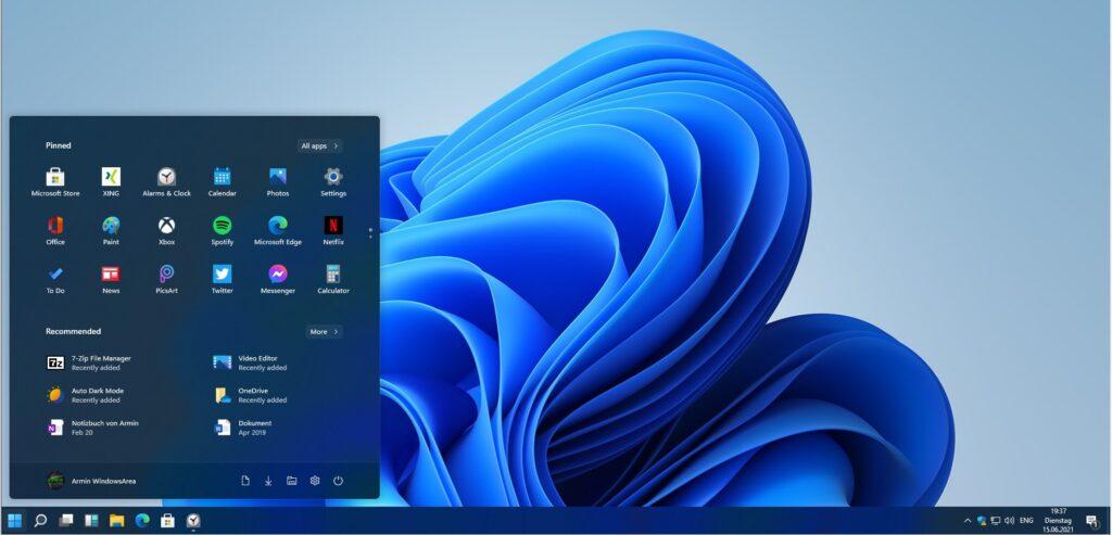 Windows 11 Startmenü und Taskleiste