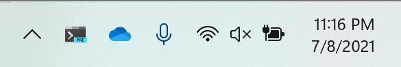 Dieses Bild zeigt das Windows Terminal 1.10 Tray-Icon in der Taskleiste.