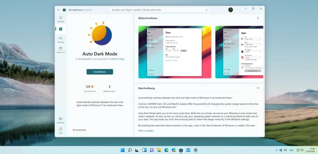 Screenshot der Microsoft Store Seite von Auto Dark Mode