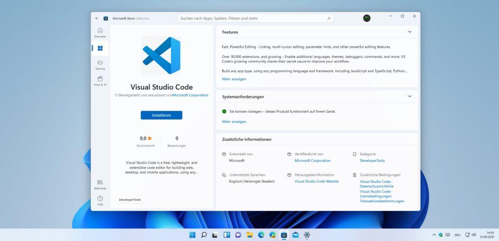 Screenshot von Visual Studio Code im Microsoft Store