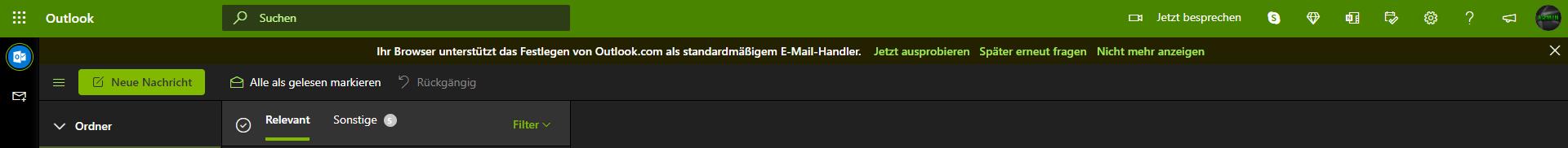 Ein Screenshot der Meldung, um Outlook als Standard E-Mail-Handler festzulegen.