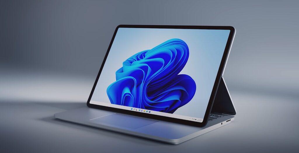 Bild des Surface Laptop Studio mit nach vorne geneigtem Display
