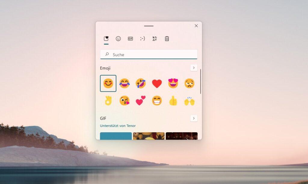 Screenshot vom Windows 11 Emoji Picker, aufrufbar mit Windows + .